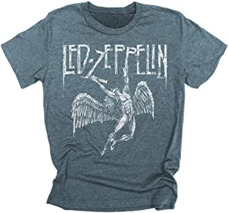 Led Zeppelin Falling Angel Distressed Hand Drawn Logo Swan Song Men's T-shirt Tee Rock led zeppelin t shirt logo t shirts for men and women