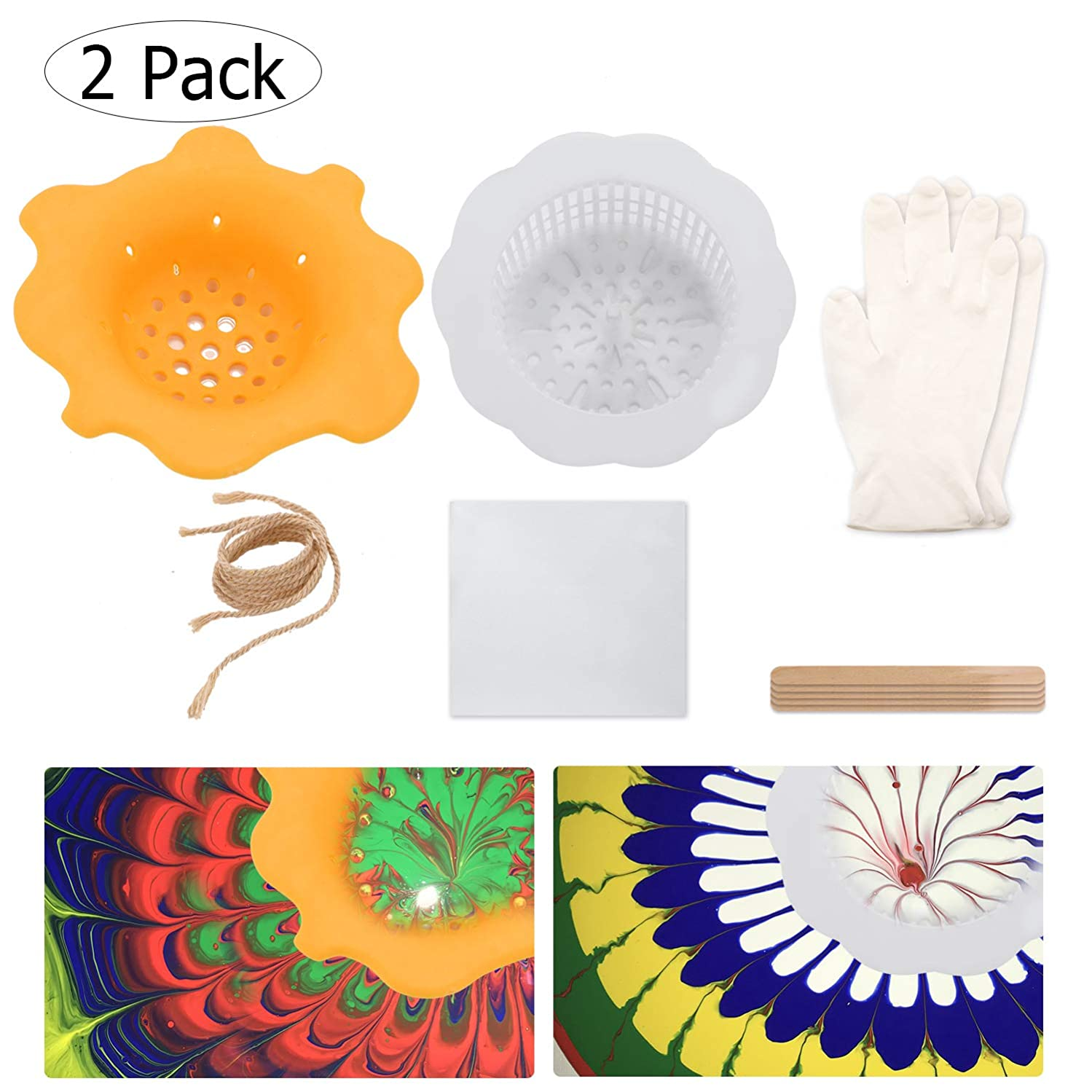 Acrylic Paint Pouring Supplies Fluid Pouring Art Supplies Paint Pouring Strainer Kits Flower Drain Basket Strainer Creating Unique Patterns and Designs(2 Pack)