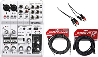 Yamaha AG06 6-Channel High resolution 2-track audio recording and playback Mixer/USB Audio Interface with Built in DSP for Mac , PC , iPad Microphone Cables and Instrument Cables
