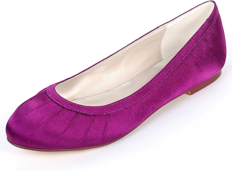 Elobaby Frauen Hochzeit Schuhe runden Kopf Neue Satin geschlossen Zehe Brautjungfer Kleid   0,6 cm Heel