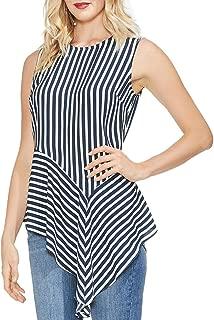 Vince Camuto Womens Sleeveless Asymmetrical Drape Hem Modern Stripe Blouse