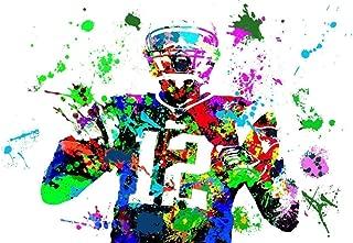 New England Patriots Quarterback Tom Brady The Goat Watercolor Wall Decor