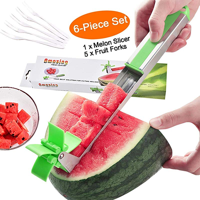 Watermelon Slicer Forno Melon Cutter Windmill Watermelon Cutter Cuber Stainless Steel Melon Slicer Cutter Tool