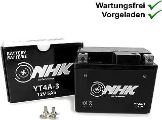 Wartungsfreie Gel Batterie 5Ah kompatibel mit MBK Ovetto 50 2T 02 03 SA15, Nitro R 50 2T 13 1PH, Nitro 100 2T SB052, Forte 50 95 3UG, Evolis 50 93 4FW (YT4A 3)