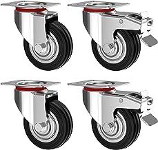 Nirox Set van 4 Zware Wielen 75 mm - Zwenkwielen met rem tot 200 kg - Massief rubber industriële wielen voor binnen en bui...