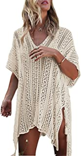 L-Peach Crochet Pareo Túnica de Playas de Algodón para Mujer Bikini Coverups Net Beachwear