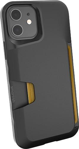 Smartish iPhone 12/12 Pro Wallet Case - Wallet Slayer Vol. 1 [Slim + Protective] Credit Card Holder (Silk) - Black Ti...