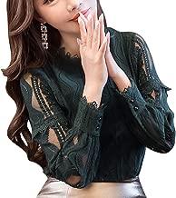 SansoiSan Women Hollow Out Green Button Lace Long Sleeve Elegant Blouse(XS-5XL)