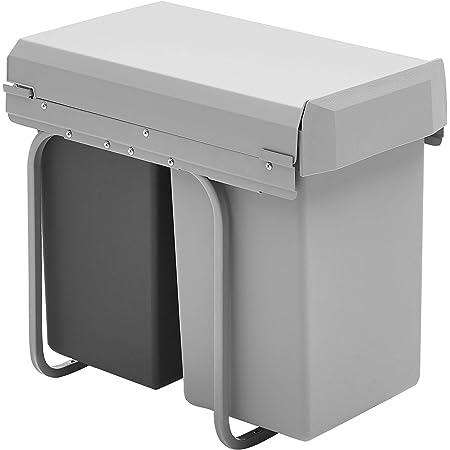 Wesco 12871- Nouveau Double-Boy - Poubelles encastrables, 2 x 15 litres, Gris / Anthracite,39 x 25 x 45 cm