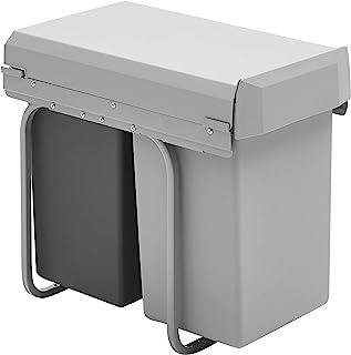 Wesco New Double-Boy - Cubo de basura integrado (2 compartimentos de 15 L) material plástico Plata/antracita