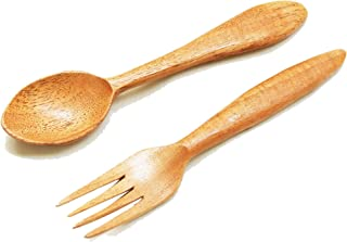 Tora Neem Wood Spoon & Fork Set   Anti-Bacteria   Heat Resistant  … Ideal for Daily use