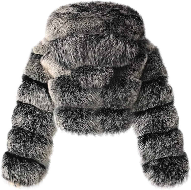 Auifor Damen Kurze Faux Pelz Mantel, Plain Kapuze warm Furry Splicing Jacke Langarm Outerwear(,) Dunkelgrau