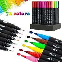 Rotuladores para caligrafía– Conjunto de rotuladores con 72 colores con doble punta: punta de pincel de 0,4 mm y punta fina de 1 a 2 mm para hacer líneas finas