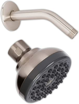 Pressure Boosting Showerhead & Shower Arm - Small Water Saving Shower Head Best For Low Flow Showers With 6 Inch Stainless Steel Wall-Mounted Shower Arm And Flange, 2.5 GPM - Brushed Nickel