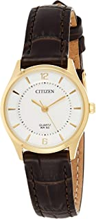 CITIZEN Womens Quartz Watch, Analog Display and Leather Strap - ER0203-00B