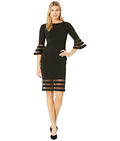 Calvin Klein Bell Sleeve Dress with Illusion at Cuff and Hem (Black) Women