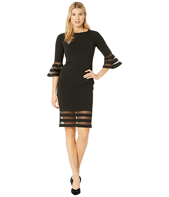Bell Sleeve Dress with Illusion at Cuff and Hem (Black) Women's Dress