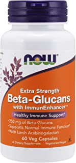NOW Supplements, Beta-Glucans with ImmunEnhancer with Larch Arabinogalactan, Extra Strength, 60 Veg Capsules