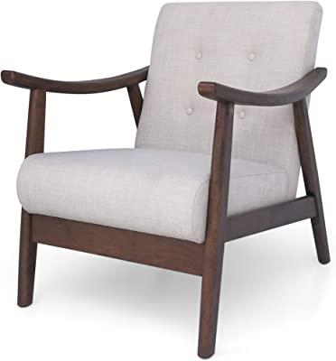 Christopher Knight Home Aurora Mid-Century Modern Accent Chair, Beige, Brown