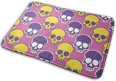 Yellow and Purple Skull Carpet Non-Slip Welcome Front Doormat Entryway Carpet Washable Outdoor Indoor Mat Room Rug 15.7 X 23.