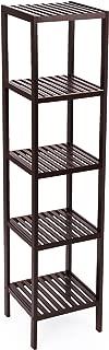 SONGMICS 100% Bamboo Bathroom Shelf, 5-Tier Multifunctional Storage Rack, Shelving Unit, Bathroom Towel shelf for Kitchen, Livingroom, Bedroom, Hallway Brown UBCB55Z