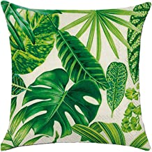 Winmany 4Pack Tropical Plant Leaves Throw Pillow Covers Leaf Rainforest Pillow Case Cushion Cover,Square Cotton Linen Decorative Throw Pillow Covers Cases for Sofa Bed Car Couch,18''x18'' (Pattern1)