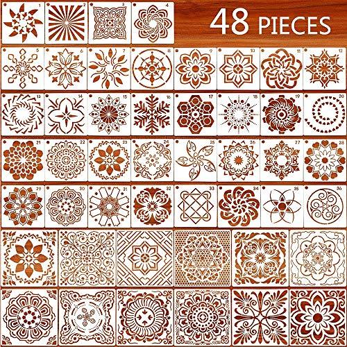 CDIYTOOL Juego de 48 plantillas de mandala, reutilizables para manualidades, azulejos, plantilla para azulejos, madera, para proyectos de arte, mesa, ventanas, piedras, álbumes de recortes