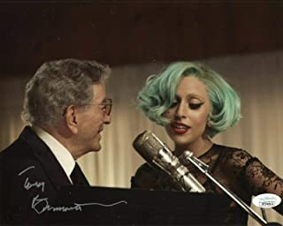TONY BENNETT HAND SIGNED 8x10 COLOR PHOTO GREAT POSE WITH LADY GAGA - JSA Certified