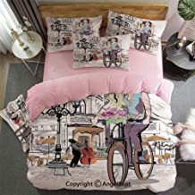 Custom Bedding Set King Size Duvet Cover Set 4 Pcs Girl with Bike and Roses in A Street Old Town Musician Romantic Tour in City 1 Duvet Cover, 1 Flat Sheet Matching 2 Pillowcase Pink
