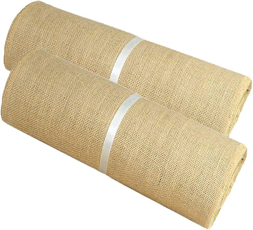 Cotton Craft Jute Burlap Table Runner 12 In X 10 Yards Rustic Hessian Overlocked Edges For Weddings Home D Cor Crafts