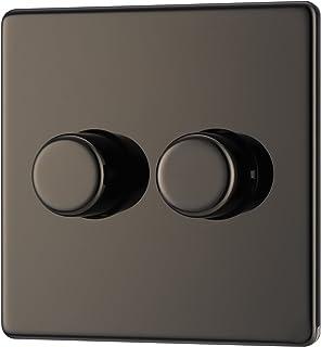 BG Electrical Screwless Flat Plate Double Dimmer Light Switch, Black Nickel, 2-Way, 400 Watts