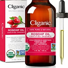 Cliganic USDA Organic Rosehip Seed Oil for Face, 100% Pure | Natural Cold Pressed Unrefined Non-GMO | Carrier Oil for Skin, Hair & Nails