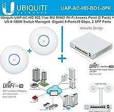Ubiquiti UAP-AC-HD 802.11ac UniFi Access Point(2pk) + Switch PoE+ Gigabit 8Port