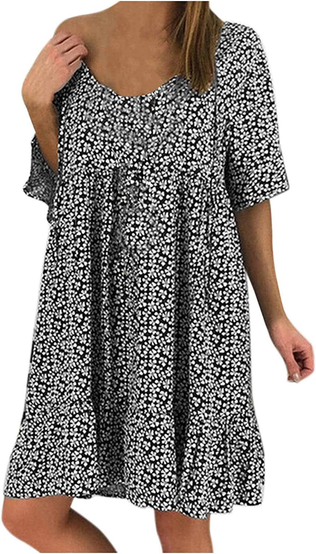 SoeHir Women Casual Loose Floral Print Rhombic Dress Fashion Beach Style Temperamental