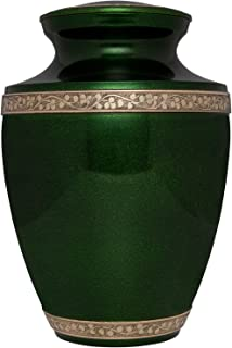 Liliane Memorials Green Funeral Urn Cremation Urn for Human Ashes - Hand Made in Brass - Suitable for Cemetery Burial or Niche - Large Size fits Remains of Adults up to 200 lbs - Torino Model