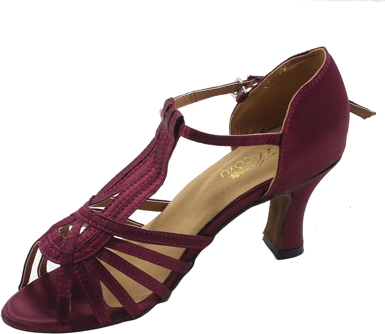 MsMushroom Woman's Satin Official Practise Dance shoes 2 1 6  Heel Purple