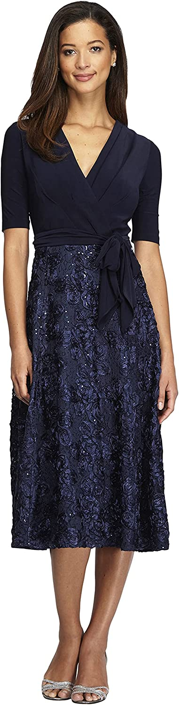 Alex Evenings Women's Tea Length Dress with Rosette Detail (Petite and Regular)