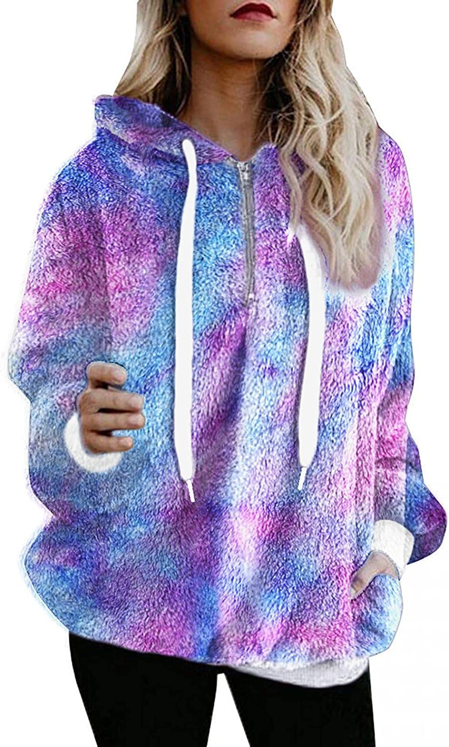 Jaqqra Hoodies for Women, Womens Fuzzy Fluffy Oversized Sweatshirts Jacket Sherpa Pullover Tops Sweater Coat with Pocket