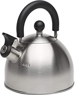 Primula Stewart Whistling Stovetop Tea Kettle Food Grade Stainless Steel, Hot Water Fast to Boil, Cool Touch Folding, 1.5 ...