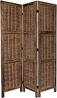 Legacy Decor 3 Panels Room Screen Divider Antique Brown Wicker and Wood