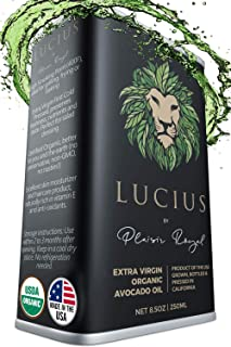 Lucius Organic Avocado Oil 8.5Oz - USDA Certified & 100% USA Made - Extra Virgin Cold Pressed Unrefined & Food Grade for Cooking or Hair & Skin Care - Healthy Frying, Salad Dressing & Keto Mayonnaise