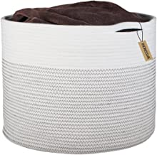 INDRESSME Extra Large Storage Baskets Cotton Rope Basket Woven Baby Laundry Basket with Handle for Diaper Toy Cute Neutral Home Decor Addition Diaper Toy 17
