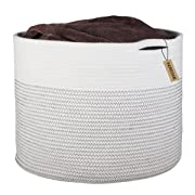 INDRESSME Extra Large Storage Baskets Cotton Rope Basket Woven Baby Laundry Basket with Handle for Diaper Toy Cute Neutral Home Decor Addition Diaper Toy 17  x 14.7