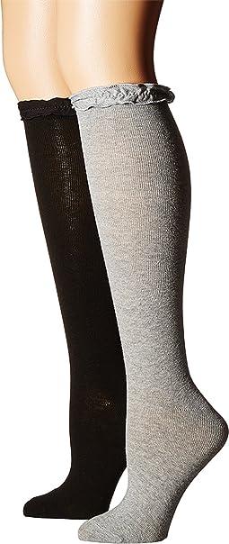 Ruffle Knee High Socks 2-Pair Pack (Toddler/Little Kid/Big Kid/Adult)