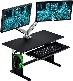 CYBER-GROUND ゲーミングデスク ローデスク 昇降式 幅90cm スライド式 キーボードラック ロータイプ 無段階高さ調節 モニターアーム対応 パソコンデスク PCデスク 56800010 00 (69763)