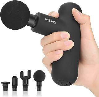 ミニマッサージガン、NEPQ 電動ドリル フェイシャルガンポータブル深部組織パーカッションマッスルバックヘッドマッサージャー、4つのマッサージヘッドで痛みを和らげる4スピード高強度振動充電式 (Black)