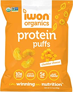 IWON Organics Cheddar Cheese Flavor Protein Puff, High Protein and Organic, 8 Bags