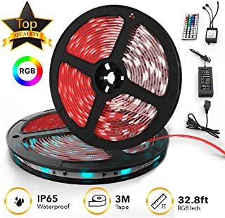 TBI Pro 32.8ft 300LEDs SMD 5050 RGB, 44 Key Remote Controller Upgraded 2019 LED Strip Lights Kit, 2-Pack x 5M w/Extra Adhesive 3M Tape, Flexible Changing Multi-Color for TV, Room