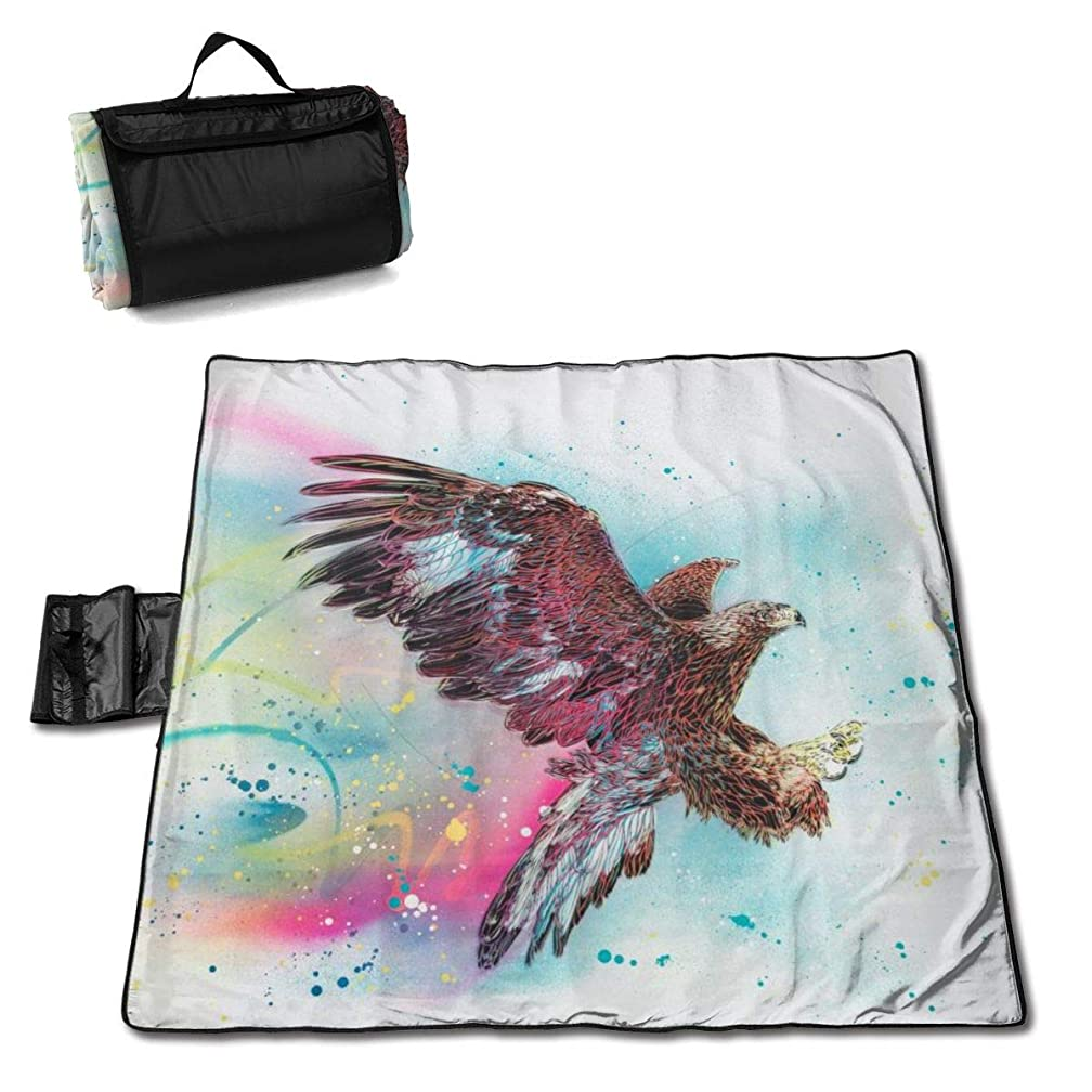 LHLX HOME Picnic Blanket Flying Eagle Handy Beach Mat with Waterproof Backing Anti Sand for Camping, Picnics, Beaches and Outings 57 X 59