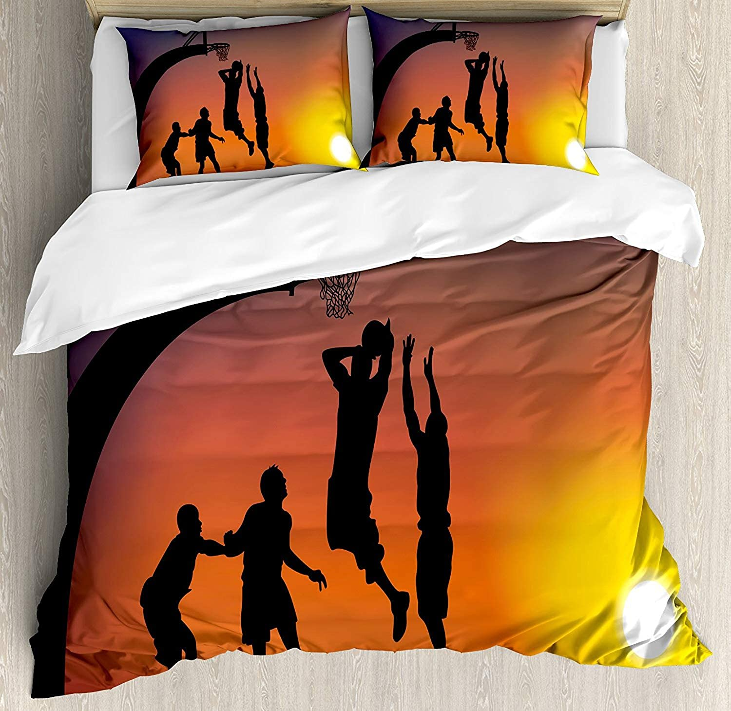 Interhear Teen Room Decor 4 Piece Bedding Printed Duvet Cover Set Twin, Luxury Soft Brushed Microfiber for Hotel Bedroom, Boys Playing Basketball at Sunset Horizon Sky Dramatic Scene